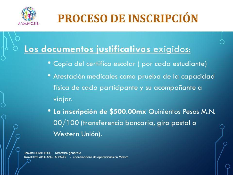 PROCESO DE INSCRIPCIÓN Jessika DELAR-RENE - Directrice générale Karol Itzel ARELLANO ALVAREZ - Coordinadora de operaciones en México Los documentos ju