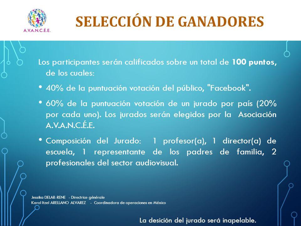 SELECCIÓN DE GANADORES Los participantes serán calificados sobre un total de 100 puntos, de los cuales: 40% de la puntuación votación del público, Facebook .