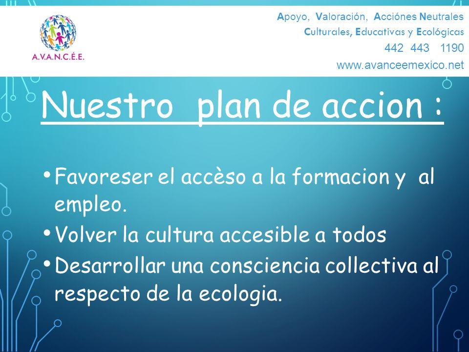 Nuestro plan de accion : Favoreser el accèso a la formacion y al empleo. Volver la cultura accesible a todos Desarrollar una consciencia collectiva al