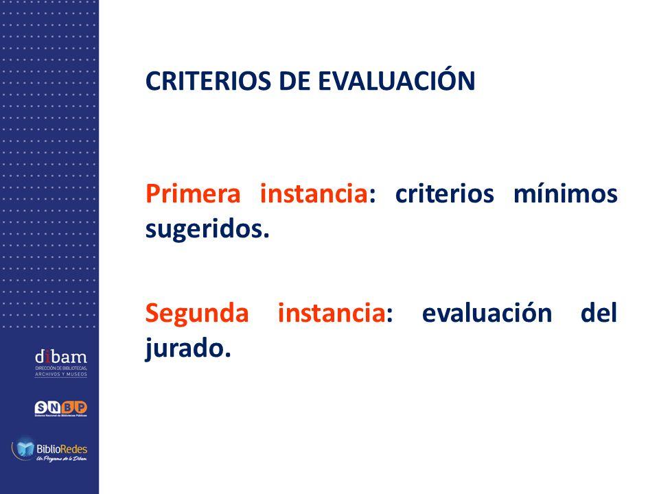 CRITERIOS DE EVALUACIÓN Primera instancia: criterios mínimos sugeridos. Segunda instancia: evaluación del jurado.