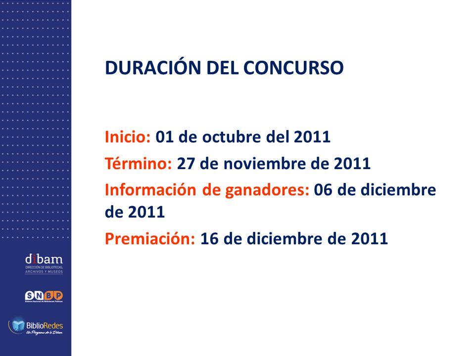 DURACIÓN DEL CONCURSO Inicio: 01 de octubre del 2011 Término: 27 de noviembre de 2011 Información de ganadores: 06 de diciembre de 2011 Premiación: 16