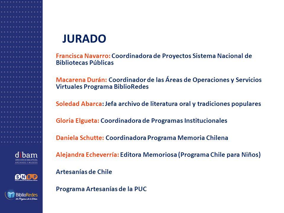 JURADO Francisca Navarro: Coordinadora de Proyectos Sistema Nacional de Bibliotecas Públicas Macarena Durán: Coordinador de las Áreas de Operaciones y