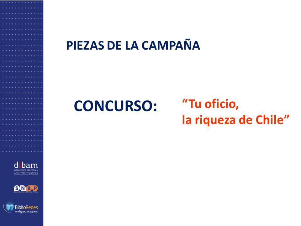 PIEZAS DE LA CAMPAÑA CONCURSO: Tu oficio, la riqueza de Chile