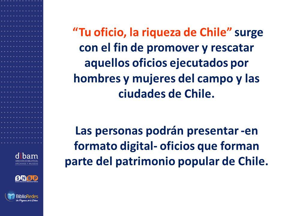Tu oficio, la riqueza de Chile surge con el fin de promover y rescatar aquellos oficios ejecutados por hombres y mujeres del campo y las ciudades de Chile.