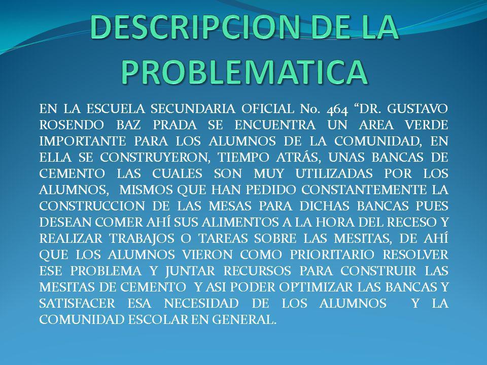 EN LA ESCUELA SECUNDARIA OFICIAL No. 464 DR. GUSTAVO ROSENDO BAZ PRADA SE ENCUENTRA UN AREA VERDE IMPORTANTE PARA LOS ALUMNOS DE LA COMUNIDAD, EN ELLA