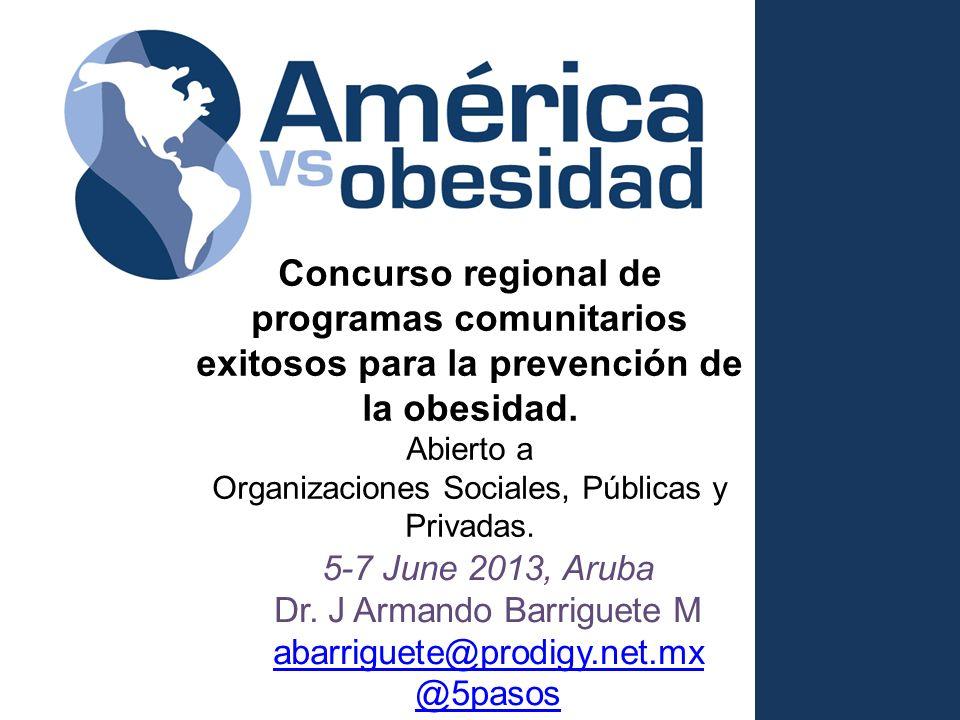 Concurso regional de programas comunitarios exitosos para la prevención de la obesidad. Abierto a Organizaciones Sociales, Públicas y Privadas. 5-7 Ju