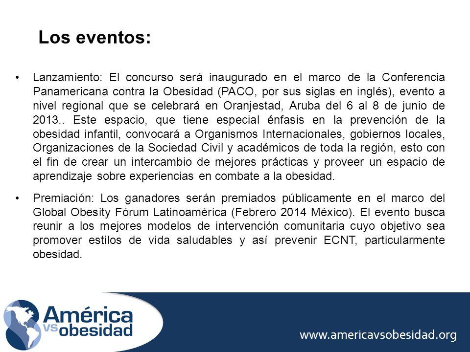Día 1: Premios América vs la Obesidad / 6 categorías Día 2: Reunión Secretarios de Salud de América Día 3 y 4: Conferencias y mesas de discusión OBJETIVO Promover y reforzar la red de las Américas para las intervenciones basadas en comunidad para la prevención de la obesidad.