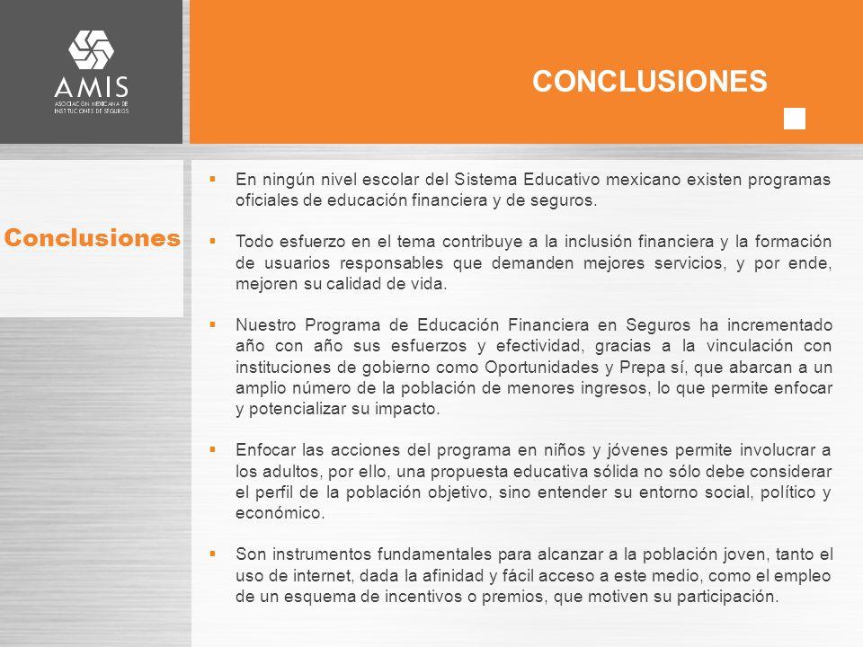 Conclusiones En ningún nivel escolar del Sistema Educativo mexicano existen programas oficiales de educación financiera y de seguros.