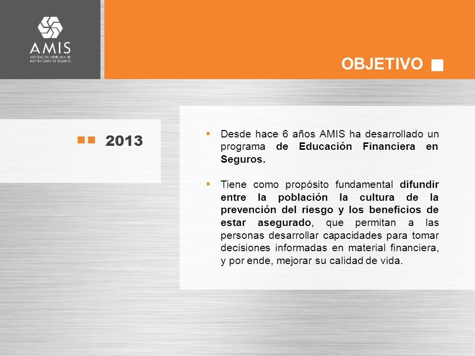2013 Desde hace 6 años AMIS ha desarrollado un programa de Educación Financiera en Seguros.