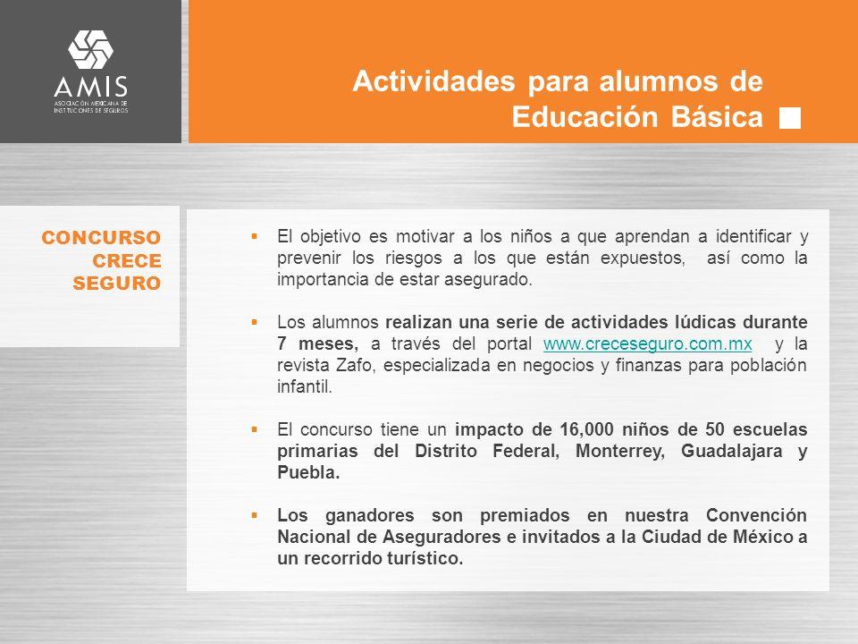 Actividades para alumnos de Educación Básica El objetivo es motivar a los niños a que aprendan a identificar y prevenir los riesgos a los que están expuestos, así como la importancia de estar asegurado.