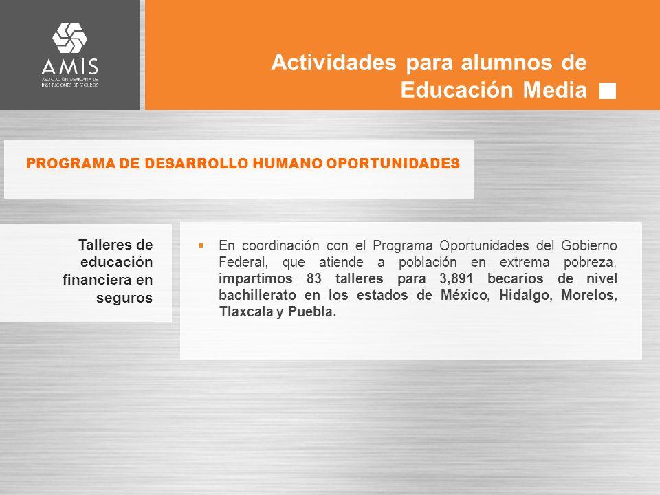 Actividades para alumnos de Educación Media En coordinación con el Programa Oportunidades del Gobierno Federal, que atiende a población en extrema pobreza, impartimos 83 talleres para 3,891 becarios de nivel bachillerato en los estados de México, Hidalgo, Morelos, Tlaxcala y Puebla.