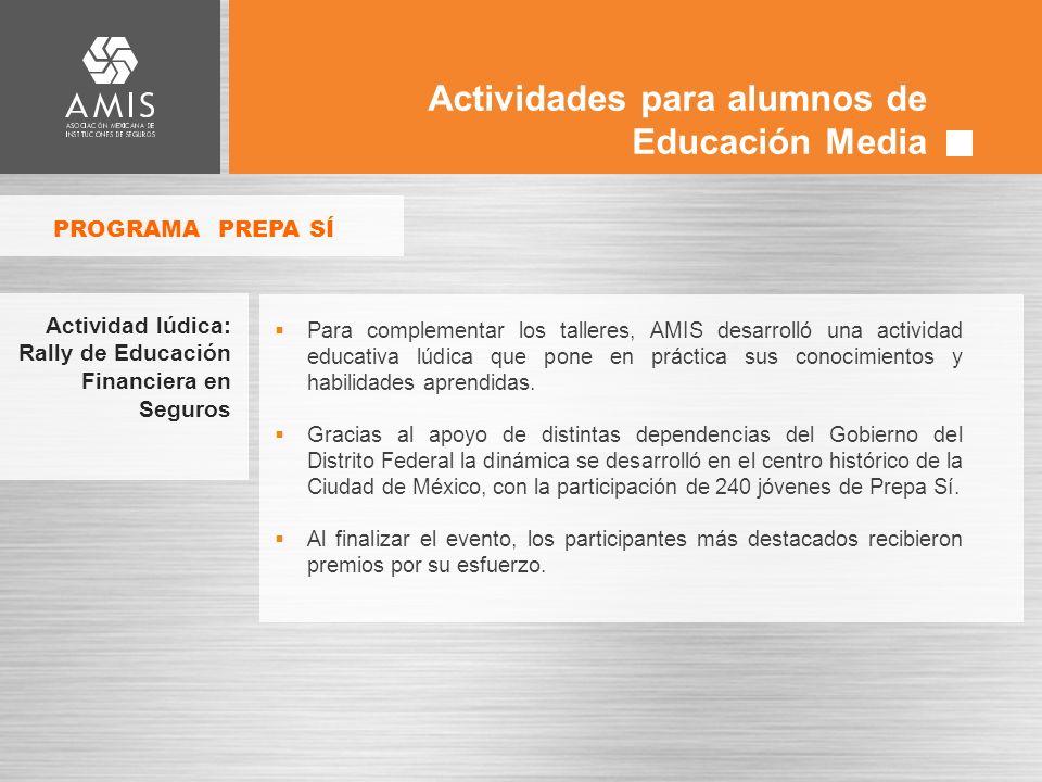 Actividades para alumnos de Educación Media Para complementar los talleres, AMIS desarrolló una actividad educativa lúdica que pone en práctica sus conocimientos y habilidades aprendidas.