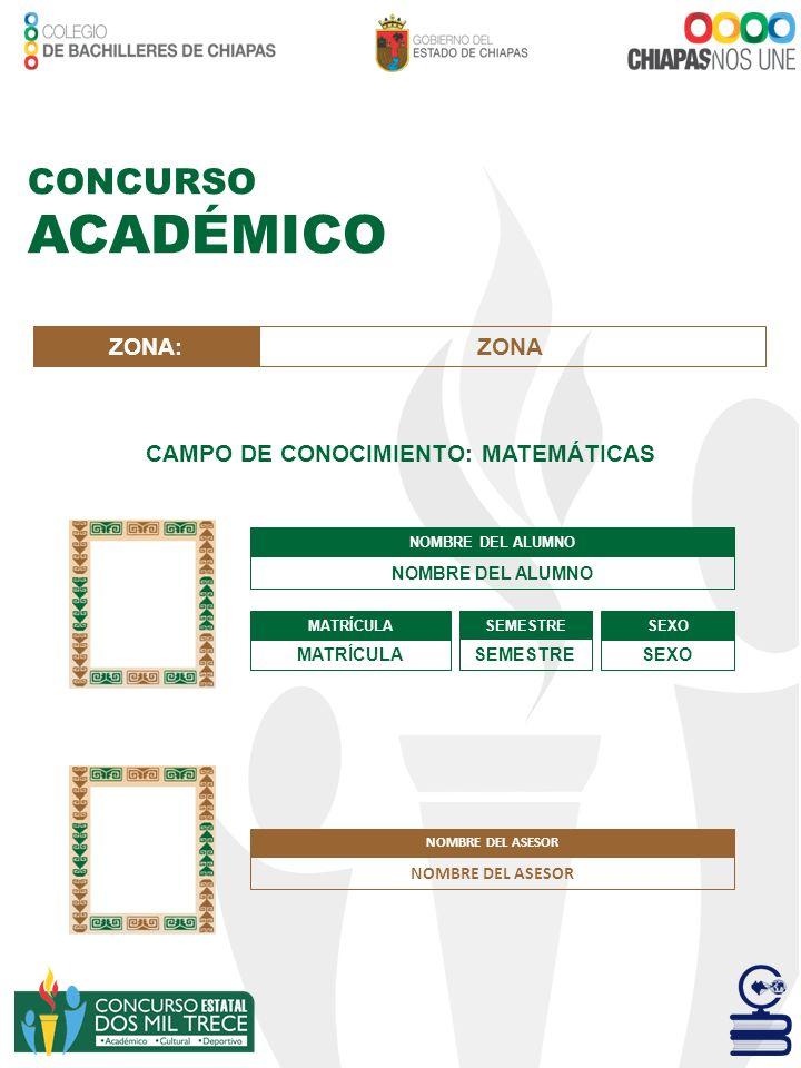 CONCURSO ACADÉMICO CAMPO DE CONOCIMIENTO: MATEMÁTICAS NOMBRE DEL ALUMNO MATRÍCULA SEMESTRE SEXO ZONA:ZONA NOMBRE DEL ASESOR