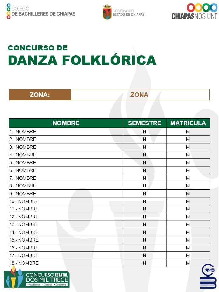 CONCURSO DE DANZA FOLKLÓRICA ZONA:ZONA NOMBRESEMESTREMATRÍCULA 1.- NOMBRENM 2.- NOMBRENM 3.- NOMBRENM 4.- NOMBRENM 5.- NOMBRENM 6.- NOMBRENM 7.- NOMBR