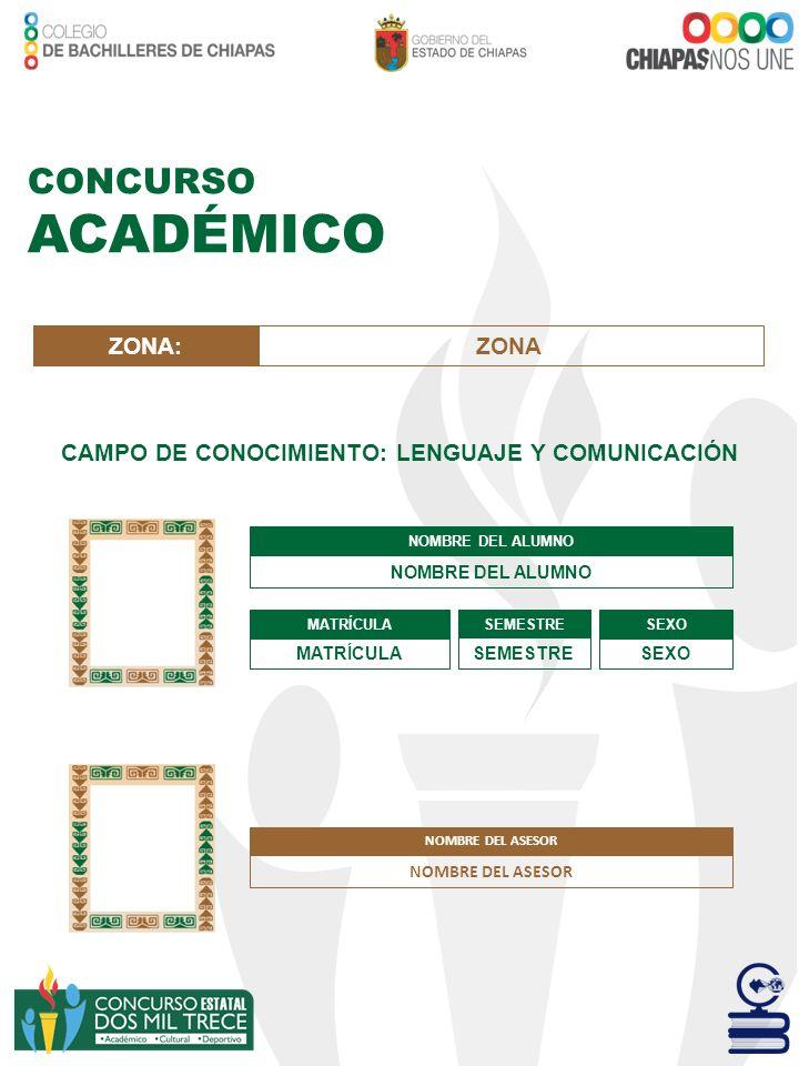 CONCURSO ACADÉMICO CAMPO DE CONOCIMIENTO: LENGUAJE Y COMUNICACIÓN NOMBRE DEL ALUMNO MATRÍCULA SEMESTRE SEXO ZONA:ZONA NOMBRE DEL ASESOR