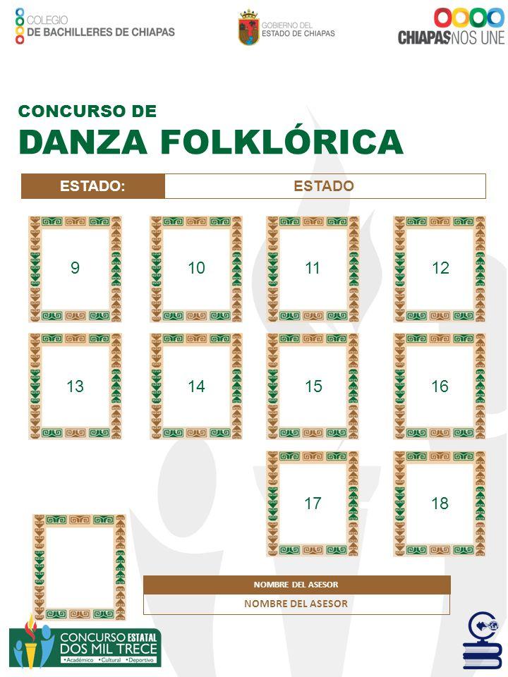 CONCURSO DE DANZA FOLKLÓRICA ESTADO:ESTADO NOMBRE DEL ASESOR 9101112 13141516 1718