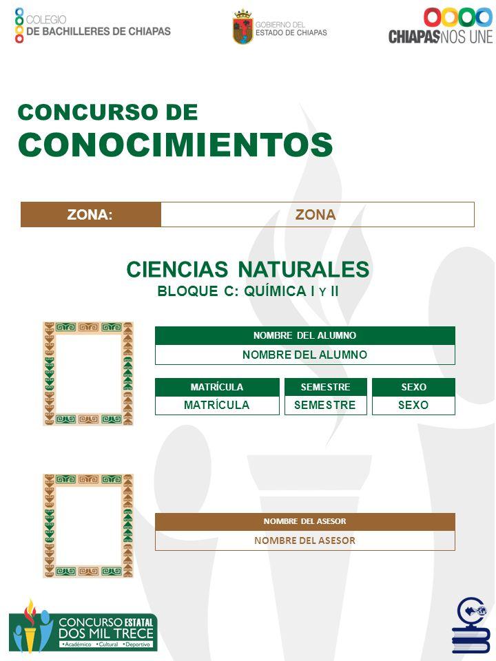 CONCURSO DE CONOCIMIENTOS CIENCIAS NATURALES BLOQUE D: BIOLOGÍA I NOMBRE DEL ALUMNO MATRÍCULA SEMESTRE SEXO ZONA:ZONA NOMBRE DEL ASESOR