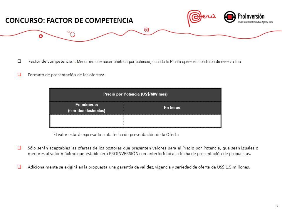 Factor de competencia: : Menor remuneración ofertada por potencia, cuando la Planta opere en condición de reserva fría. Formato de presentación de las