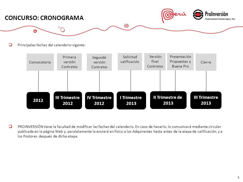 CONCURSO: CRONOGRAMA 5 Primera versión Contratos Versión final Contratos Presentación Propuestas y Buena Pro Cierre 2012 I Trimestre 2013 III Trimestr