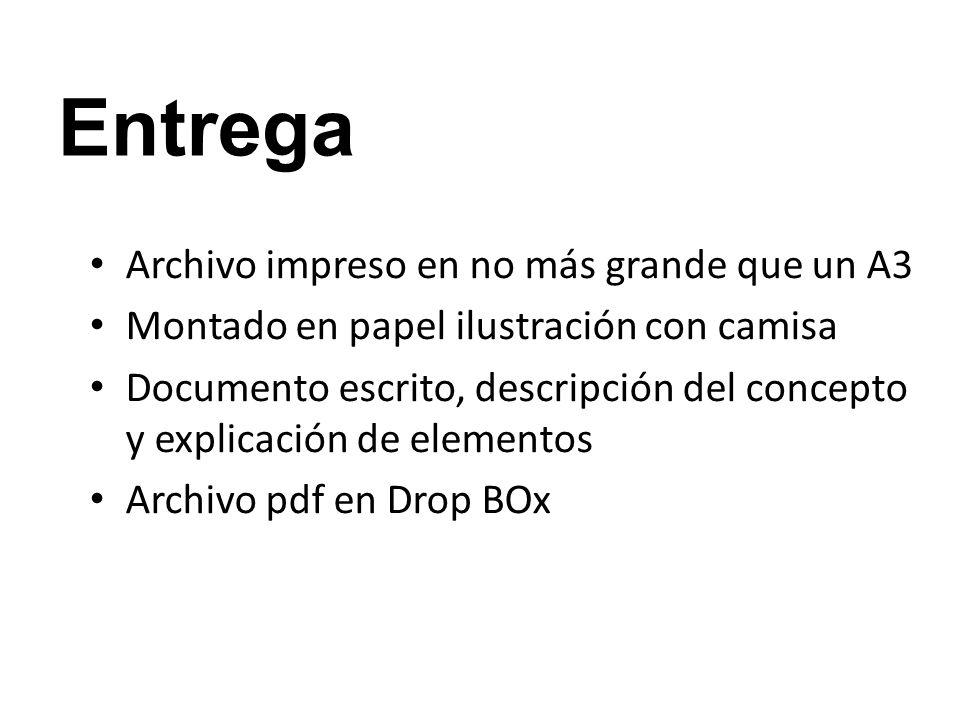 Entrega Archivo impreso en no más grande que un A3 Montado en papel ilustración con camisa Documento escrito, descripción del concepto y explicación d