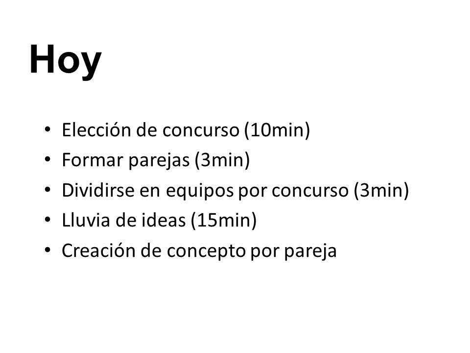 Hoy Elección de concurso (10min) Formar parejas (3min) Dividirse en equipos por concurso (3min) Lluvia de ideas (15min) Creación de concepto por parej