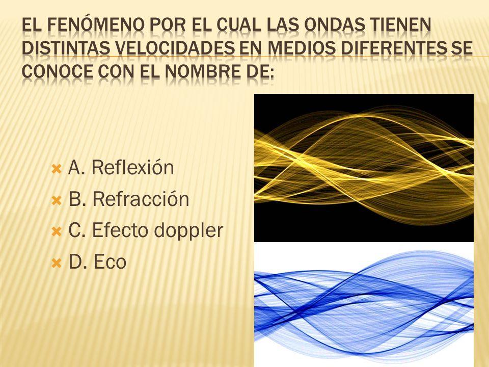 A. Reflexión B. Refracción C. Efecto doppler D. Eco