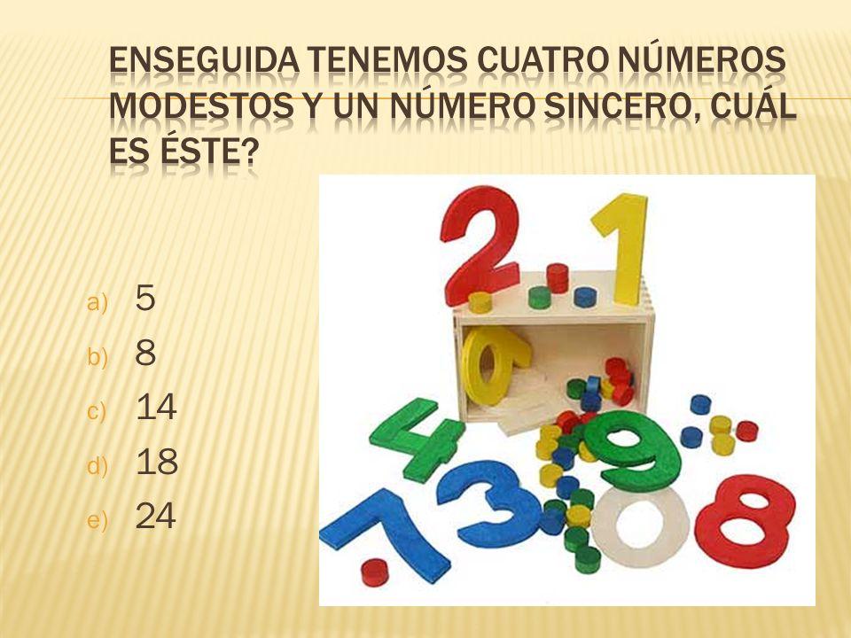 a) 5 b) 8 c) 14 d) 18 e) 24