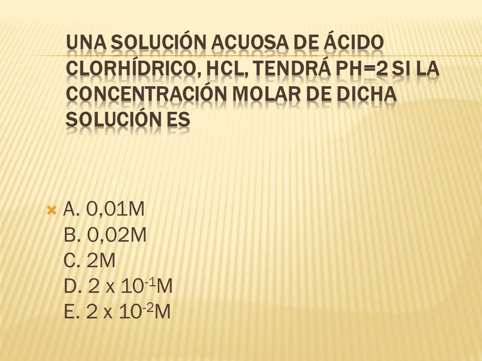A. 0,01M B. 0,02M C. 2M D. 2 x 10 -1 M E. 2 x 10 -2 M