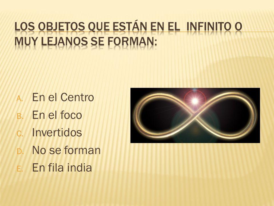 A. En el Centro B. En el foco C. Invertidos D. No se forman E. En fila india