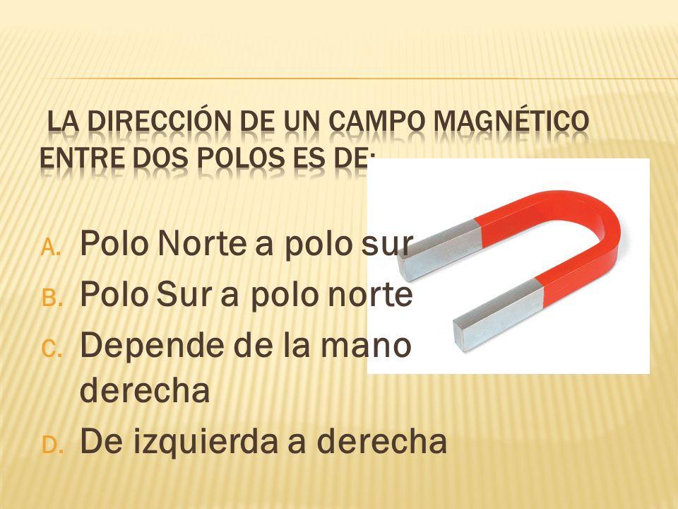 A. Polo Norte a polo sur B. Polo Sur a polo norte C. Depende de la mano derecha D. De izquierda a derecha