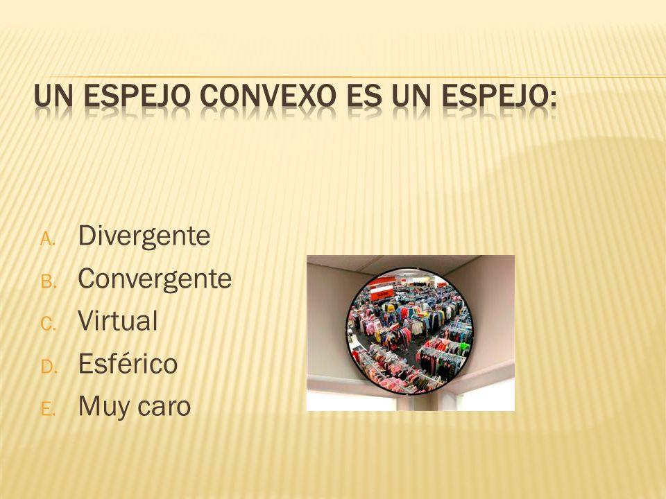 A. Divergente B. Convergente C. Virtual D. Esférico E. Muy caro