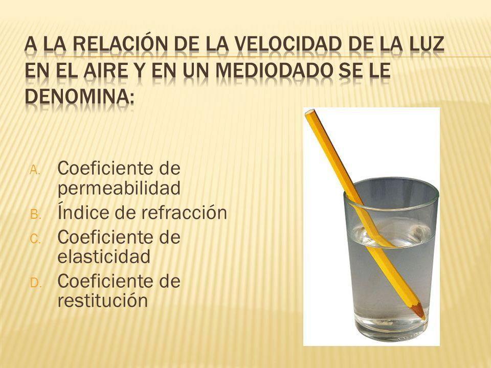 A. Coeficiente de permeabilidad B. Índice de refracción C. Coeficiente de elasticidad D. Coeficiente de restitución
