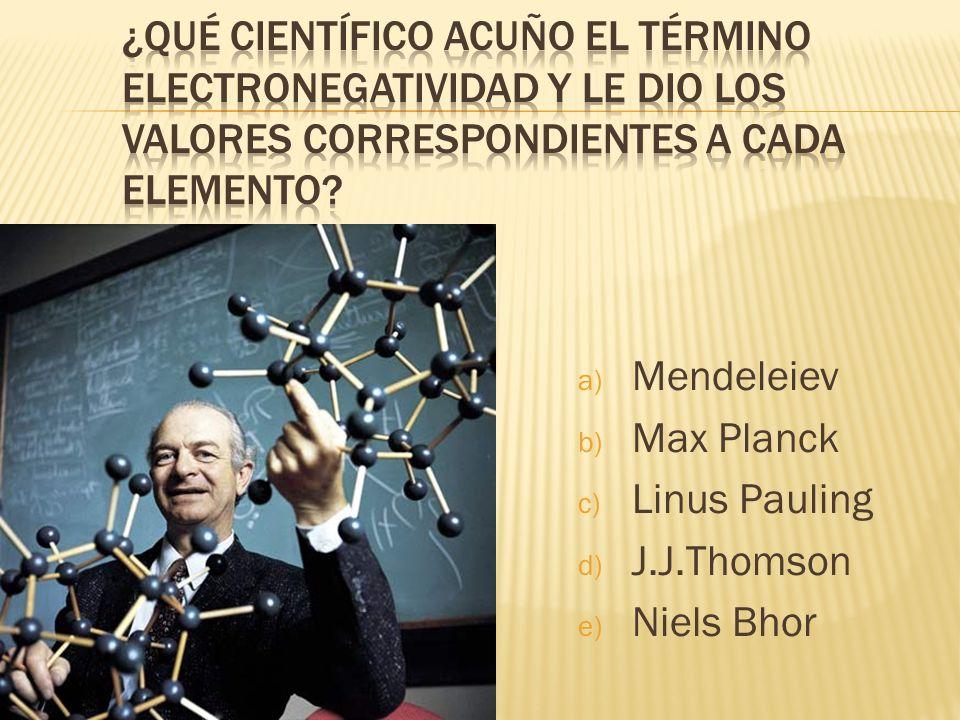 a) Mendeleiev b) Max Planck c) Linus Pauling d) J.J.Thomson e) Niels Bhor