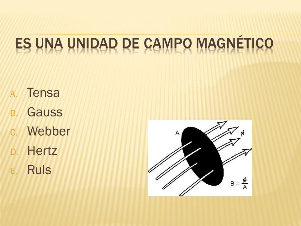 A. Tensa B. Gauss C. Webber D. Hertz E. Ruls