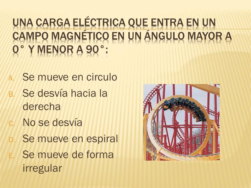 A. Se mueve en circulo B. Se desvía hacia la derecha C. No se desvía D. Se mueve en espiral E. Se mueve de forma irregular