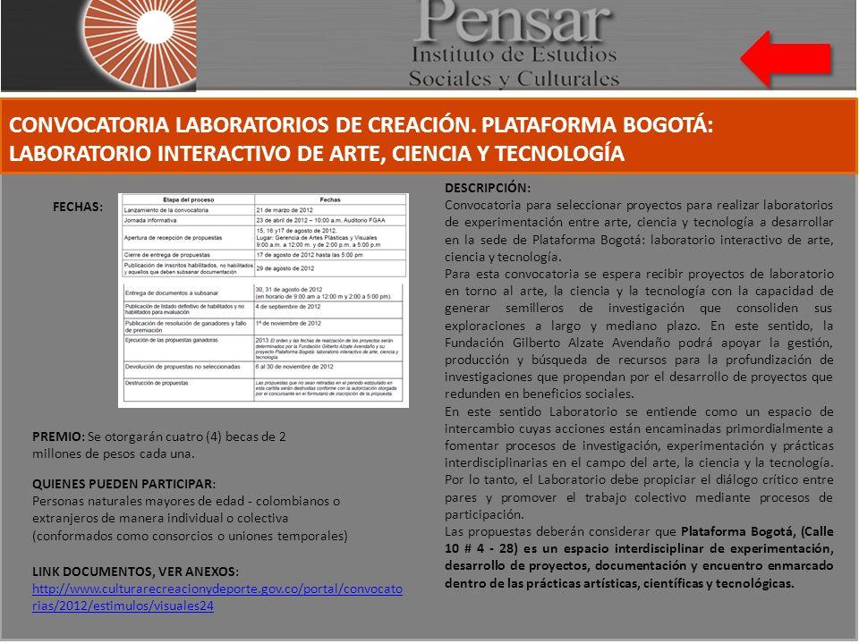 CONVOCATORIA LABORATORIOS DE CREACIÓN.