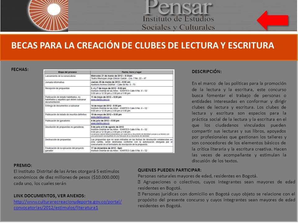 BECAS PARA LA CREACIÓN DE CLUBES DE LECTURA Y ESCRITURA FECHAS: QUIENES PUEDEN PARTICIPAR: Personas naturales mayores de edad, residentes en Bogotá.