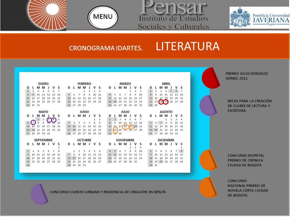 CRONOGRAMA IDARTES.FECHAS RECEPCIÓN DE PROPUESTAS.
