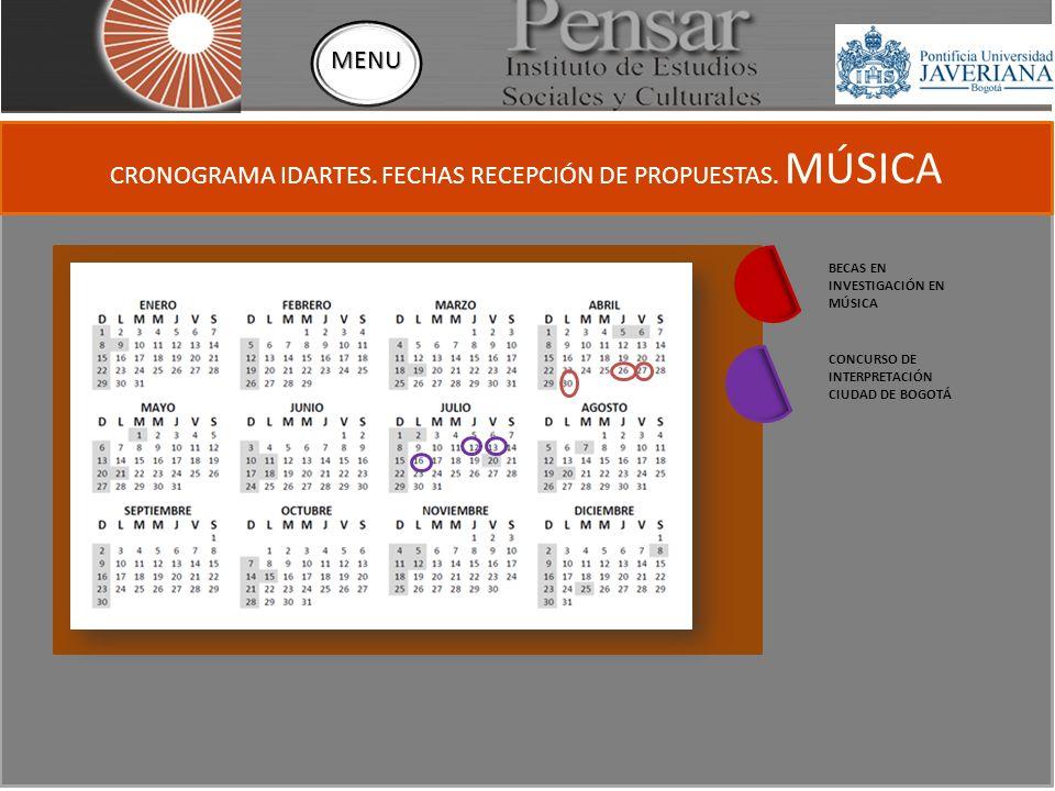 CRONOGRAMA IDARTES. FECHAS RECEPCIÓN DE PROPUESTAS.