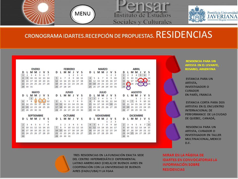 CRONOGRAMA IDARTES.RECEPCIÓN DE PROPUESTAS.