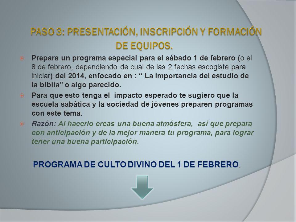 Prepara un programa especial para el sábado 1 de febrero (o el 8 de febrero, dependiendo de cual de las 2 fechas escogiste para iniciar) del 2014, enf