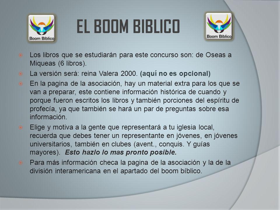 EL BOOM BIBLICO Los libros que se estudiarán para este concurso son: de Oseas a Miqueas (6 libros). La versión será: reina Valera 2000. (aquí no es op