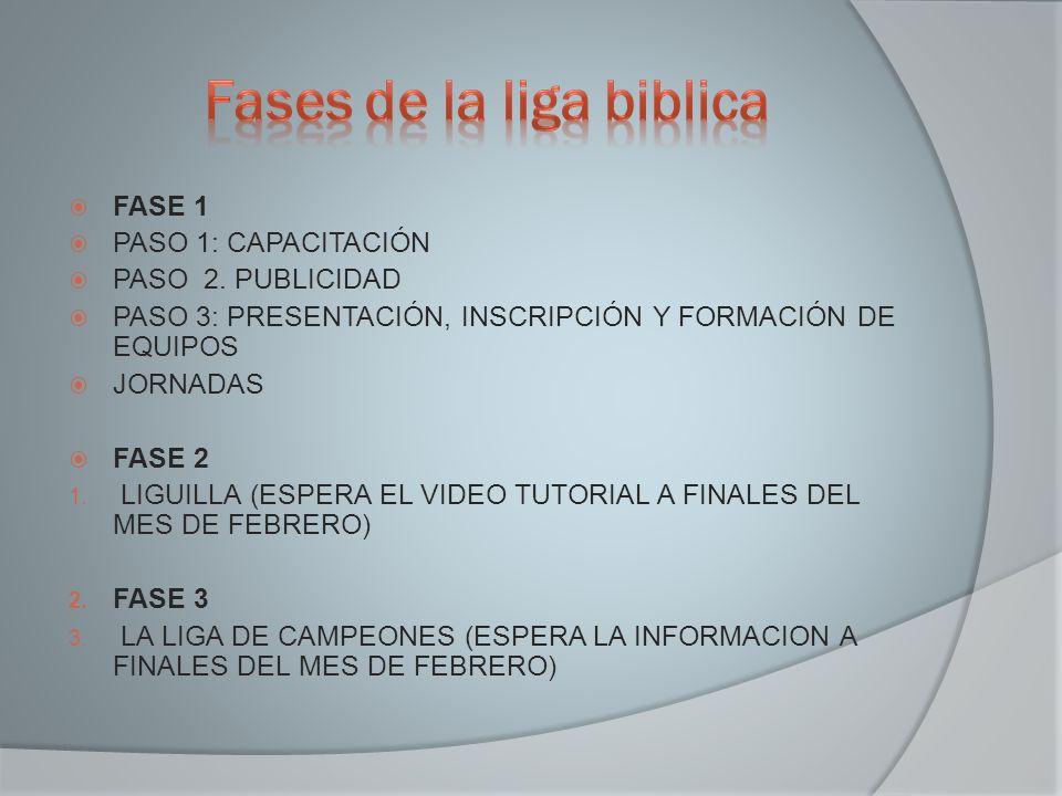 FASE 1 PASO 1: CAPACITACIÓN PASO 2. PUBLICIDAD PASO 3: PRESENTACIÓN, INSCRIPCIÓN Y FORMACIÓN DE EQUIPOS JORNADAS FASE 2 1. LIGUILLA (ESPERA EL VIDEO T