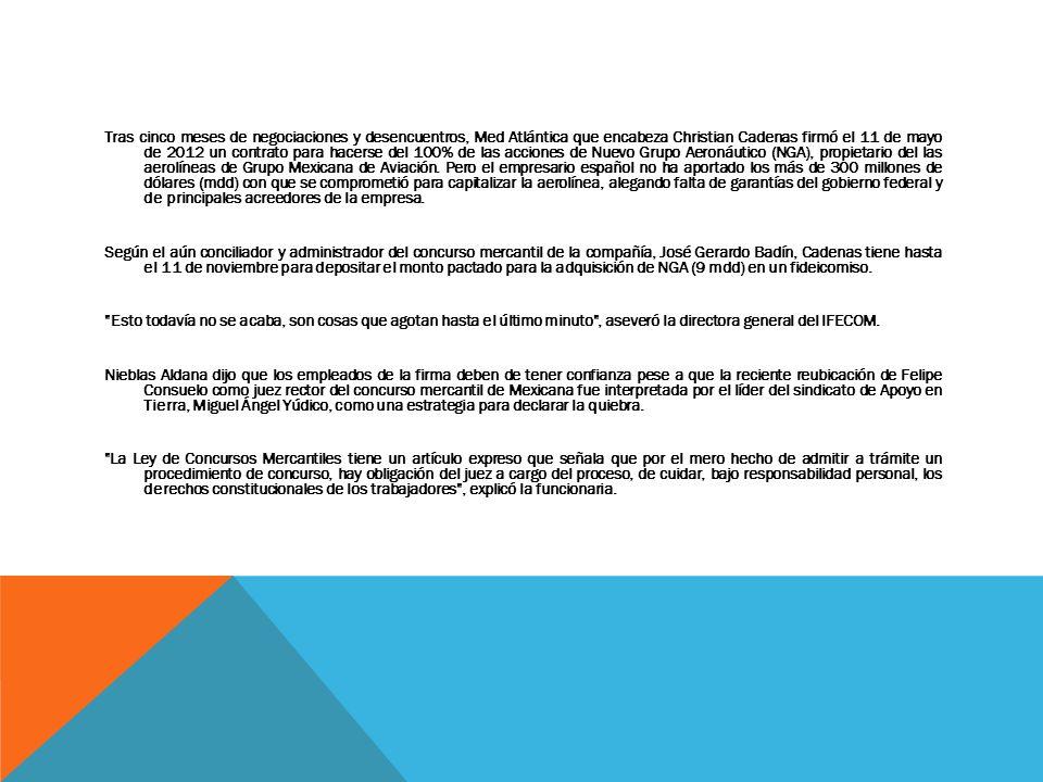Tras cinco meses de negociaciones y desencuentros, Med Atlántica que encabeza Christian Cadenas firmó el 11 de mayo de 2012 un contrato para hacerse d