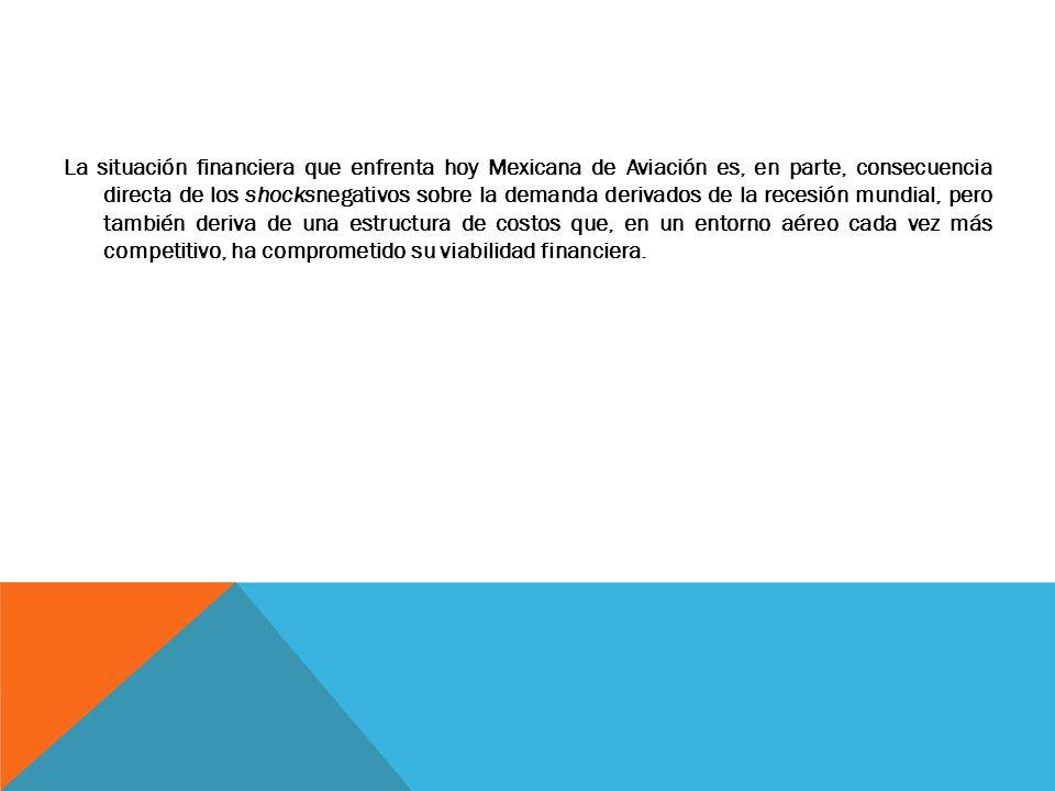 La situación financiera que enfrenta hoy Mexicana de Aviación es, en parte, consecuencia directa de los shocksnegativos sobre la demanda derivados de
