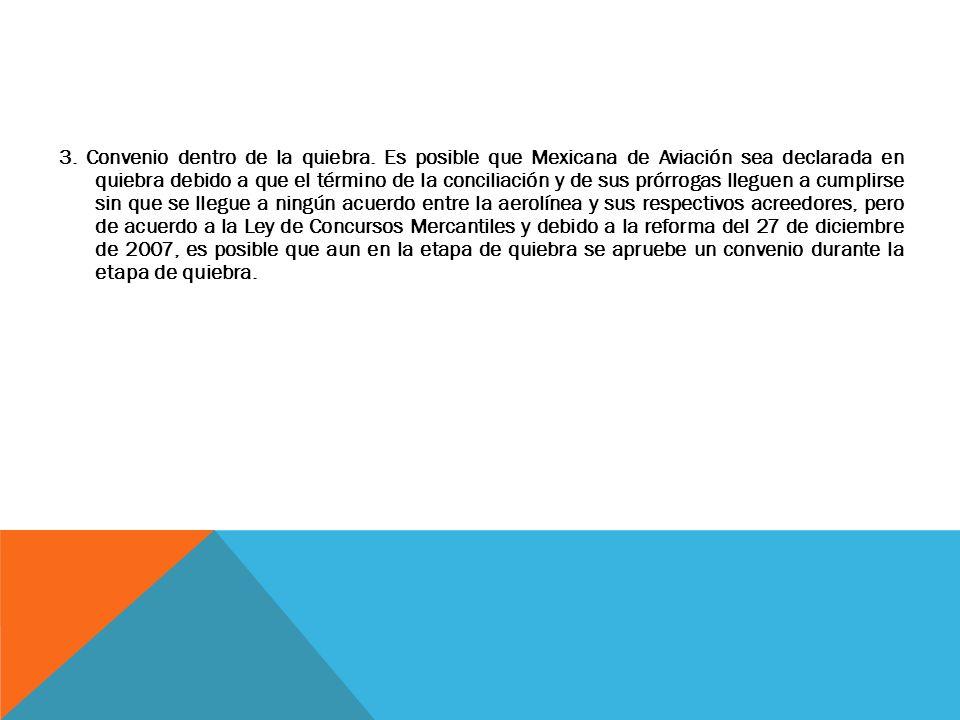 3. Convenio dentro de la quiebra. Es posible que Mexicana de Aviación sea declarada en quiebra debido a que el término de la conciliación y de sus pró