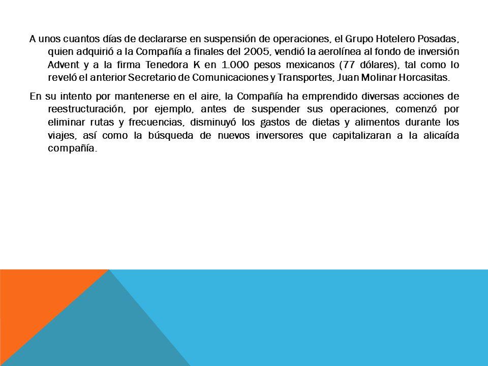 A unos cuantos días de declararse en suspensión de operaciones, el Grupo Hotelero Posadas, quien adquirió a la Compañía a finales del 2005, vendió la