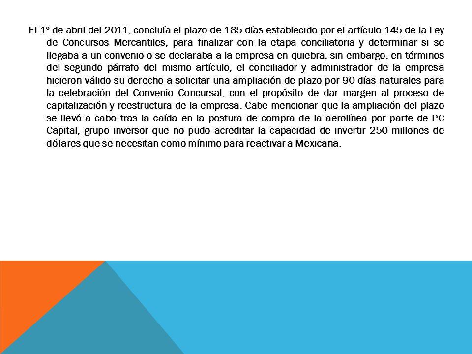 El 1º de abril del 2011, concluía el plazo de 185 días establecido por el artículo 145 de la Ley de Concursos Mercantiles, para finalizar con la etapa