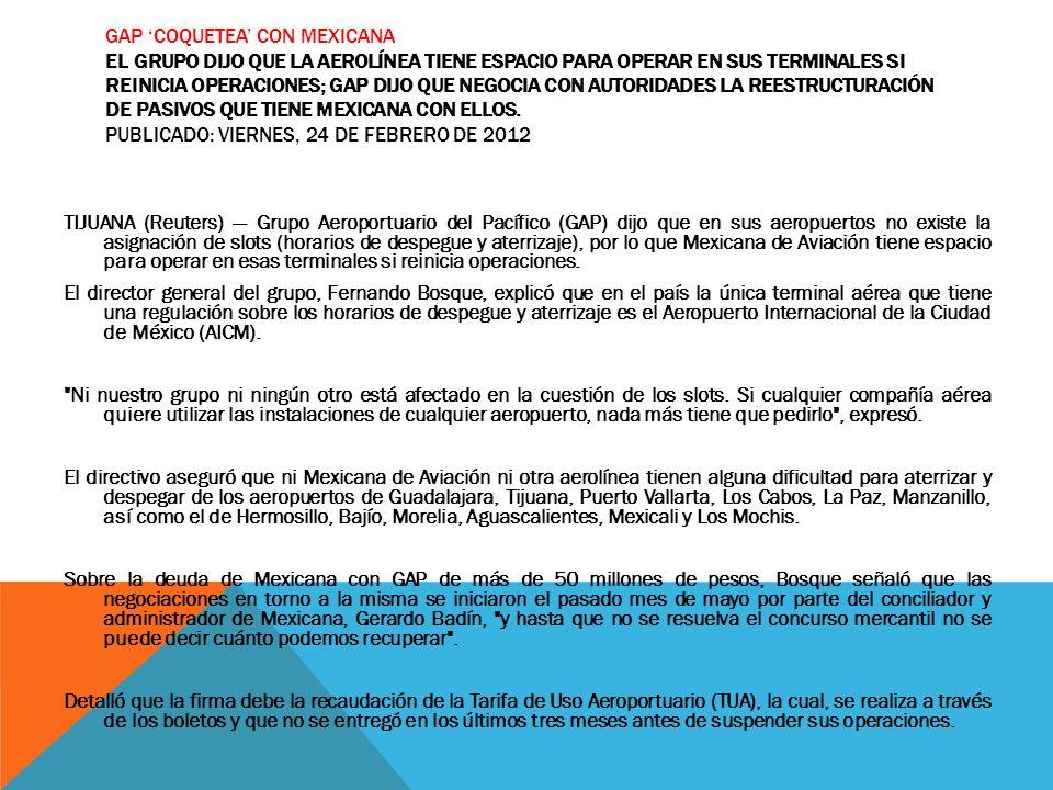 GAP COQUETEA CON MEXICANA EL GRUPO DIJO QUE LA AEROLÍNEA TIENE ESPACIO PARA OPERAR EN SUS TERMINALES SI REINICIA OPERACIONES; GAP DIJO QUE NEGOCIA CON