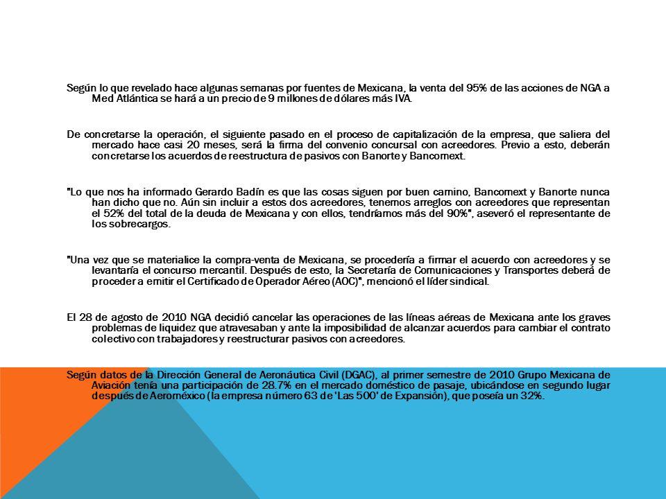 Según lo que revelado hace algunas semanas por fuentes de Mexicana, la venta del 95% de las acciones de NGA a Med Atlántica se hará a un precio de 9 m